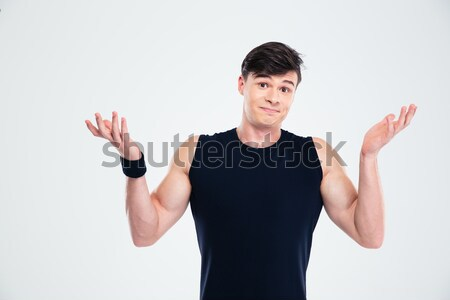 Belo gordura mulher bíceps retrato Foto stock © deandrobot