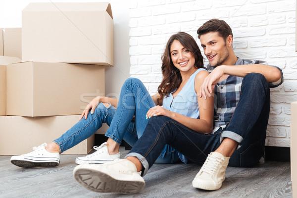 年輕 快樂 情侶 移動 新居 商業照片 © deandrobot