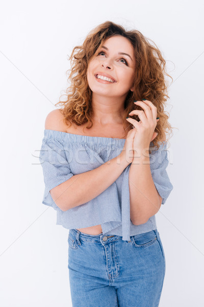 Verical image of happy woman in singlet Stock photo © deandrobot