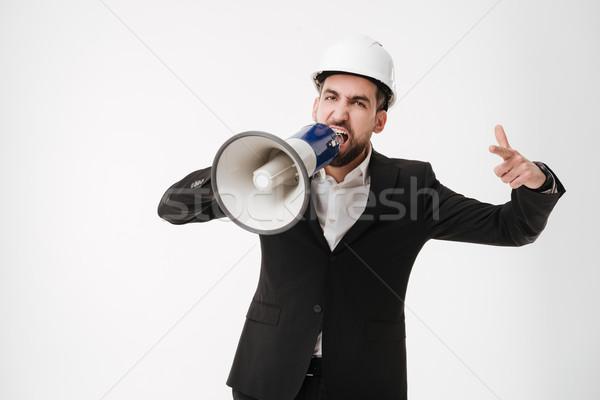 Sikít építész beszél hangfal kép fiatal Stock fotó © deandrobot