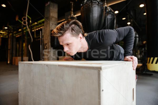 молодые спортивный человека окна спортзал Сток-фото © deandrobot