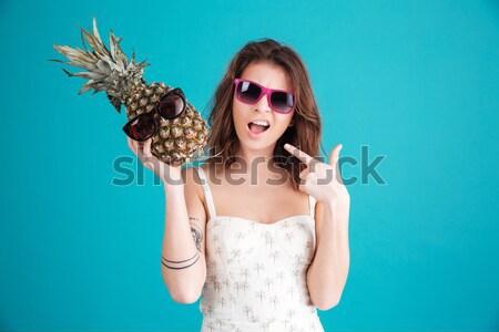 счастливым молодые Lady ананаса изображение Сток-фото © deandrobot