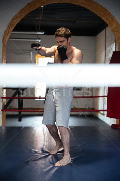 ショット 男 リング スポーツマン 訓練 ストックフォト © deandrobot