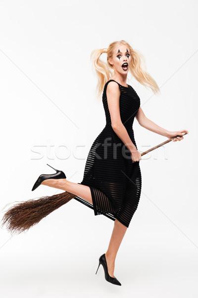 Portret podniecony wesoły witch Zdjęcia stock © deandrobot