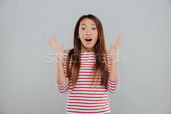 Сток-фото: портрет · счастливым · возбужденный · женщину · Постоянный · открытых