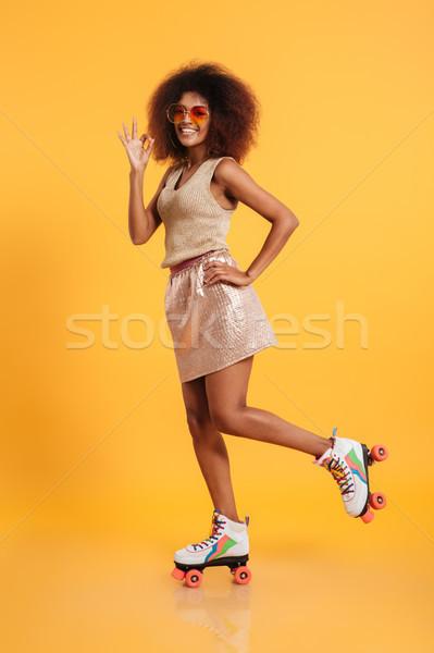 Portret zabawny afro amerykański kobieta Zdjęcia stock © deandrobot