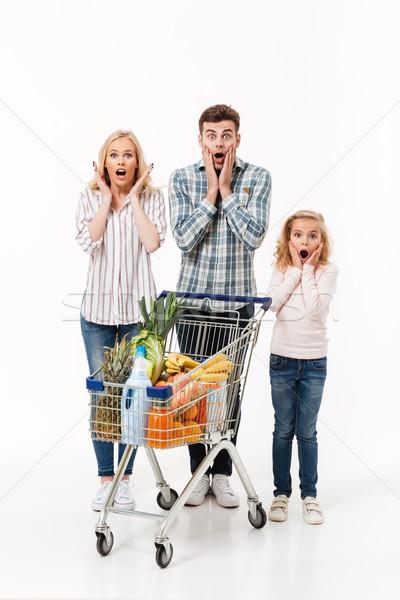 Full length portrait of a shocked family Stock photo © deandrobot