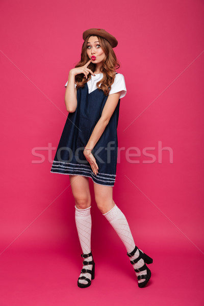 Stock photo: Shy beautiful lady