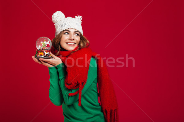 Pretty woman wearing hat and warm scarf Stock photo © deandrobot