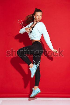 Imagen alegre punk mujer saltar Foto stock © deandrobot