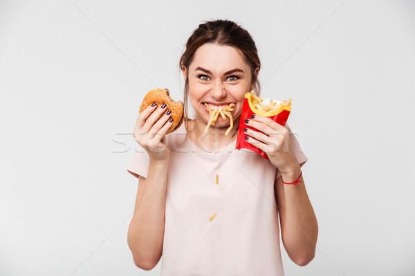 Photo stock: Portrait · faim · fille · manger · frites · françaises