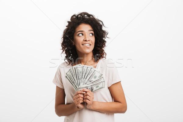 Adorável americano mulher cabelo castanho Foto stock © deandrobot