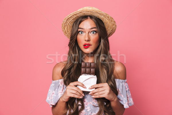 Portrait of a doubting young girl in summer clothes Stock photo © deandrobot