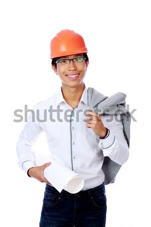 Stockfoto: Portret · gelukkig · asian · ingenieur · blauwdruk