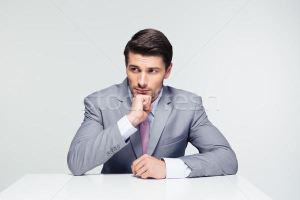 沈痛 ビジネスマン 座って 表 ハンサム グレー ストックフォト © deandrobot