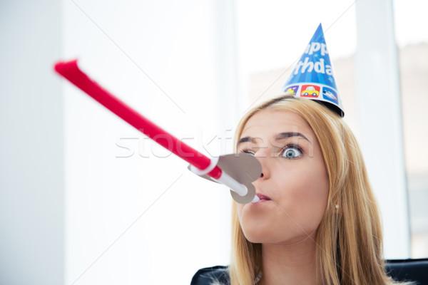 Girl blows whistle Stock photo © deandrobot