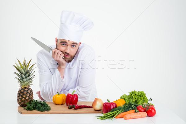 портрет молодые повар Кука изолированный Сток-фото © deandrobot