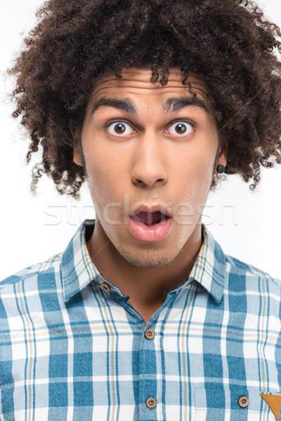 Afro amerikan adam kıvırcık saçlı portre Stok fotoğraf © deandrobot