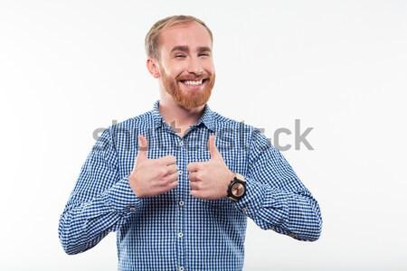 Uśmiechnięty człowiek broda kciuk w górę Zdjęcia stock © deandrobot
