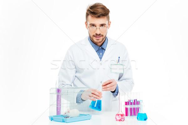 Tudós patkány laboratórium egér gyógyszer üveg Stock fotó © deandrobot