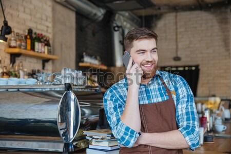 Zabawny para mąka twarze stałego kuchnia Zdjęcia stock © deandrobot