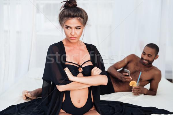Chateado mulher mãos homem bonito Foto stock © deandrobot