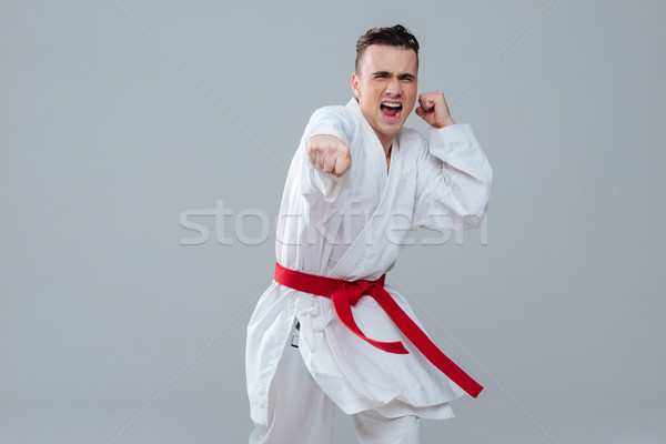 Sportsman in kimono practicing at karate while looking to camera. Stock photo © deandrobot
