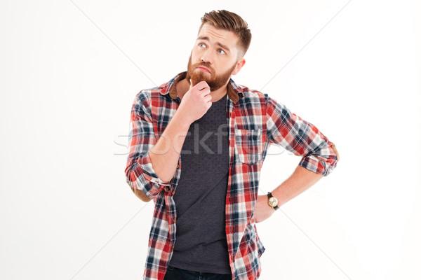 Stock fotó: Portré · figyelmes · szakállas · férfi · áll · másfelé · néz