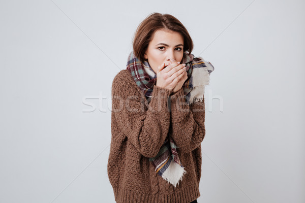 Beauty Freeze woman in sweater and scarf Stock photo © deandrobot