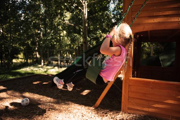 Lány játszótér oldalnézet boldog lányok jókedv Stock fotó © deandrobot