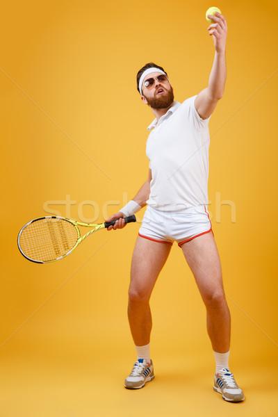 Koncentrált fiatal teniszező kép visel szemüveg Stock fotó © deandrobot