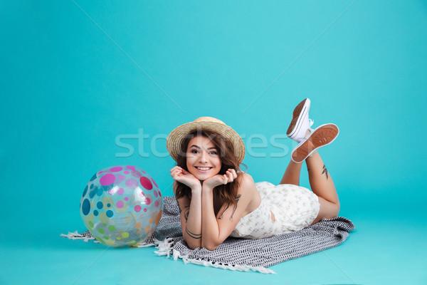 肖像 笑みを浮かべて 夏 少女 麦わら帽子 ストックフォト © deandrobot