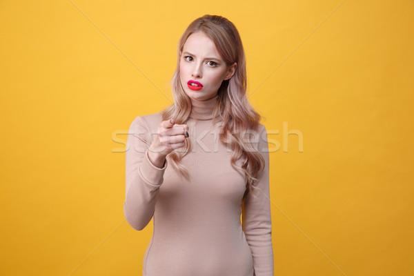 Confusi giovani signora luminoso trucco Foto d'archivio © deandrobot