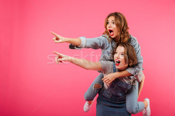Emotional amazing two women friends have fun Stock photo © deandrobot