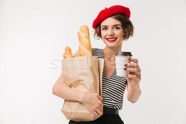 Portret szczęśliwy kobieta beret Zdjęcia stock © deandrobot