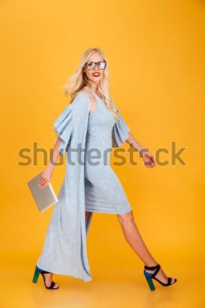 Teljes alakos portré csinos lány ruha beszél Stock fotó © deandrobot