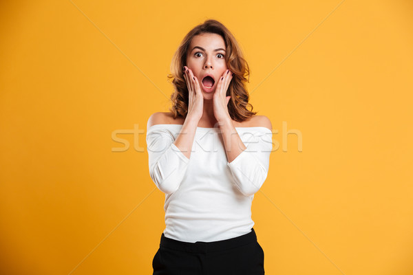 Shocked young woman Stock photo © deandrobot