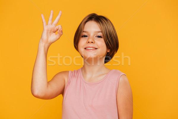 девушки вызывать жест изолированный Сток-фото © deandrobot