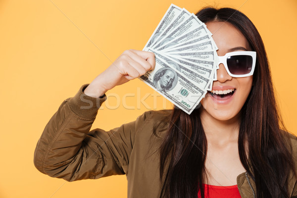 Close up portrait of an excited satisfied girl Stock photo © deandrobot
