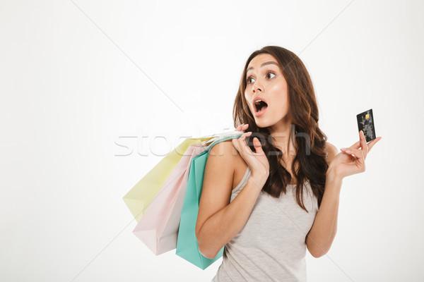 Zdjęcia stock: Portret · kobieta · strony · zakupy · karty · kredytowej · odizolowany