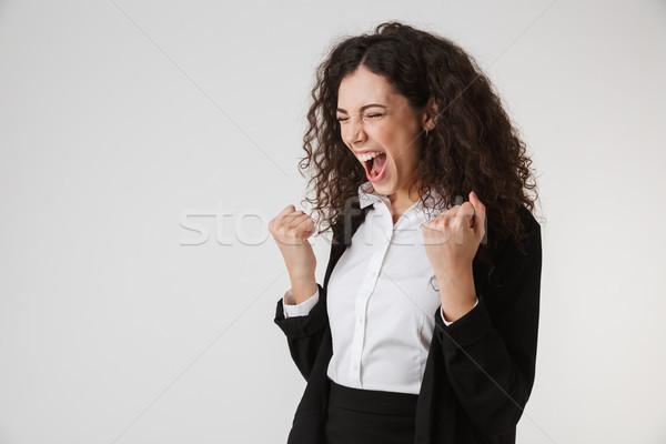 Portré dühös fiatal üzletasszony sikít izolált Stock fotó © deandrobot