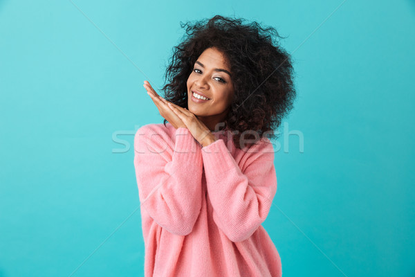 Colorful portrait of fascinating woman 20s with afro hairstyle s Stock photo © deandrobot