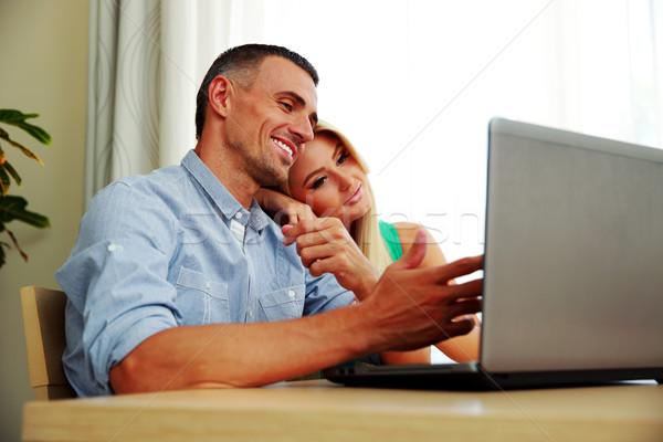 Stok fotoğraf: Dizüstü · bilgisayar · kullanıyorsanız · birlikte · ev · bilgisayar · kadın