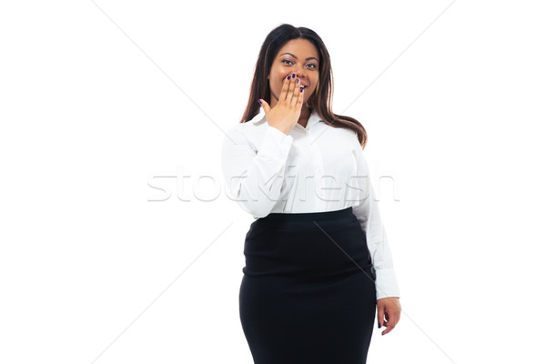 African businesswoman covering her mouth Stock photo © deandrobot