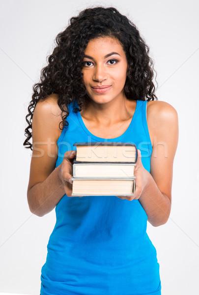 Schönen afro Frau halten Pfund Stock foto © deandrobot