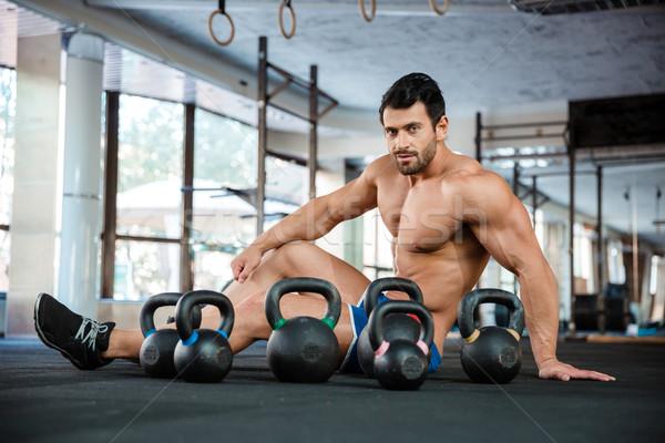 Knappe man vloer ketel portret fitness Stockfoto © deandrobot