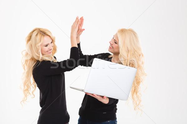 Nővérek ikrek laptop számítógép ünnepel siker portré Stock fotó © deandrobot