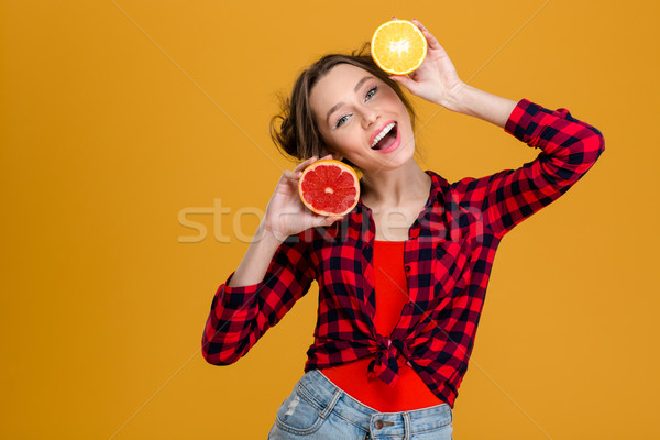 Alegre hermosa agrios frutas Foto stock © deandrobot