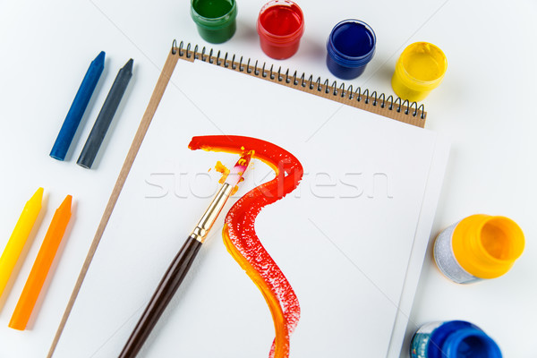 Top view of art album pages, brushes and drawing crayons  Stock photo © deandrobot