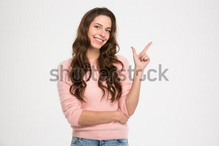 Stok fotoğraf: Mutlu · kadın · işaret · parmak · uzak · yalıtılmış